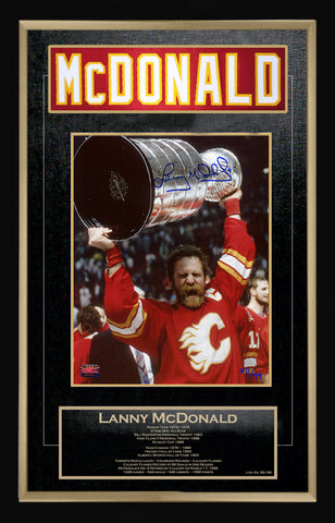LANNY MCDONALD CAREER COLLECTIBLE NAMEBAR - MUSEUM FRAMED - LTD ED OF 99