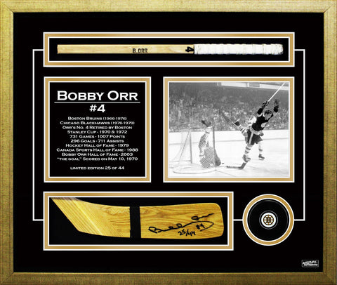 AUTOGRAPHED BOBBY ORR HOCKEY STICK BLADE MUSEUM FRAMED - LIMITED EDITION OF 44