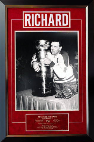 MAURICE RICHARD CAREER COLLECTIBLE NAMEBAR - MUSEUM FRAMED - LTD ED OF 199