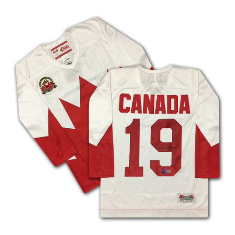 PAUL HENDERSON TEAM CANADA AUTOGRAPHED 1972 WHITE SUMMIT SERIES JERSEY