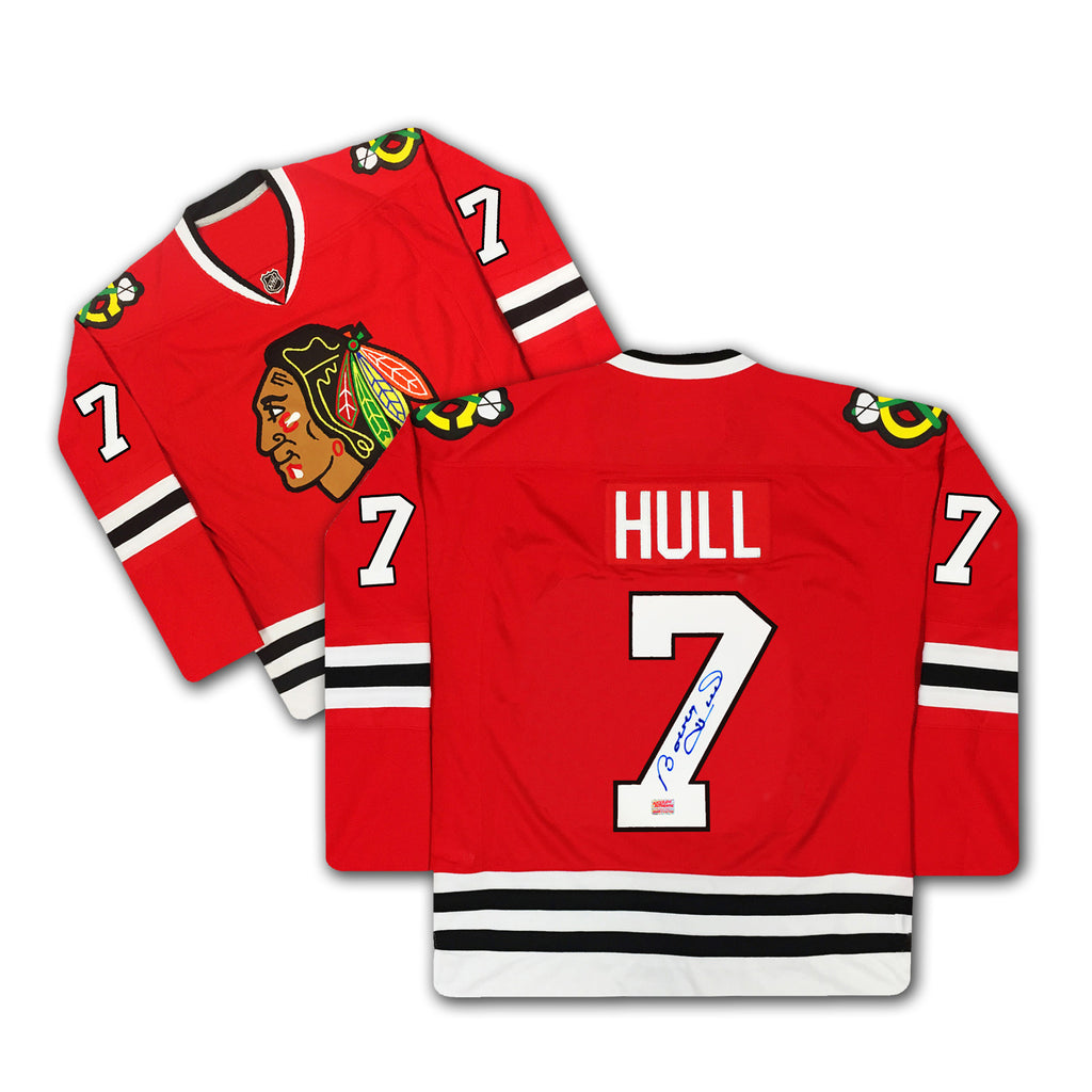 Bobby Hull Number 7 Signed Red Chicago Blackhawks Jersey, Chicago Blackhawks, NHL, Hockey, Autographed, Signed, AAAJH32310