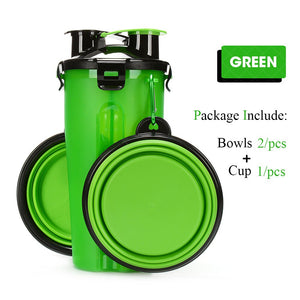 2 in 1 - Water Bottle and Food Container with Folding Cup for Pets - Enjoy Your Everyday Life