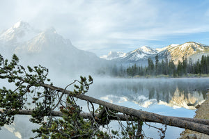 Stanley Lake Idaho with Fog and trees