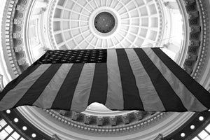 Under the Capitol Dome in black & white