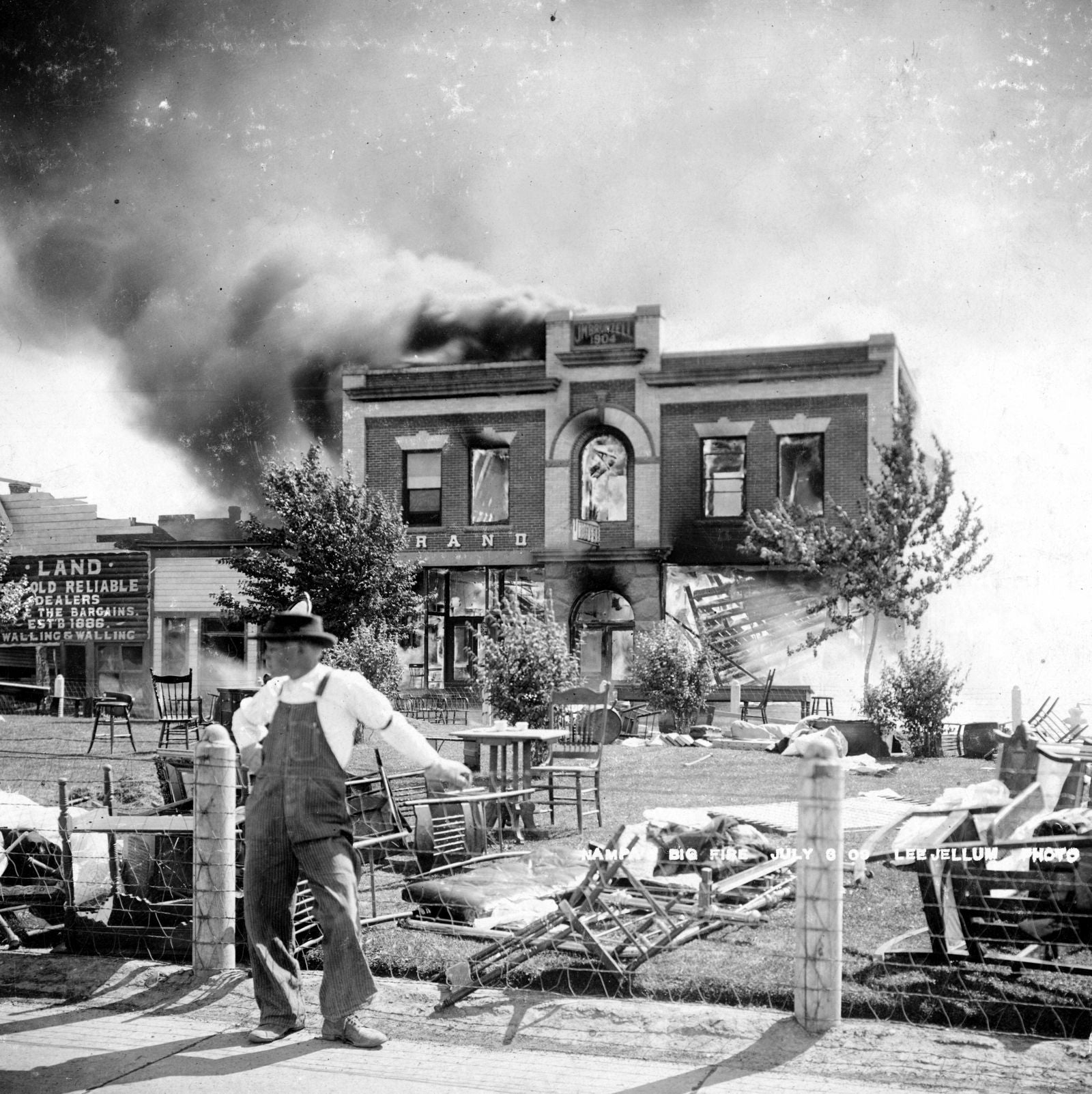 Nampa Fire - July 3, 1909 - Grand Hotel Ablaze