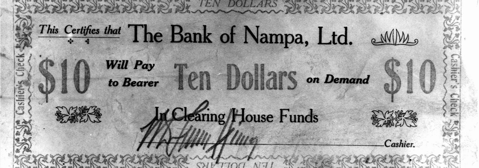 Ten Dollar Note - Bank of Nampa