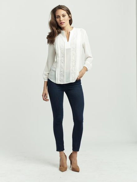 Pintuck Blouse - Lace V-Neck