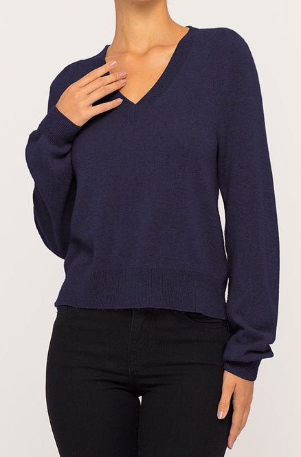 Cashmere Pleated V-Neck