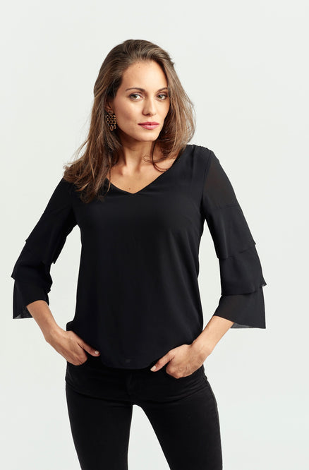 Perfect V-Neck Blouse - Tiered Sleeve