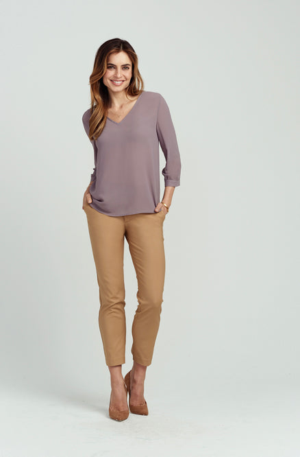 Perfect V-Neck Blouse - 3/4 Sleeve