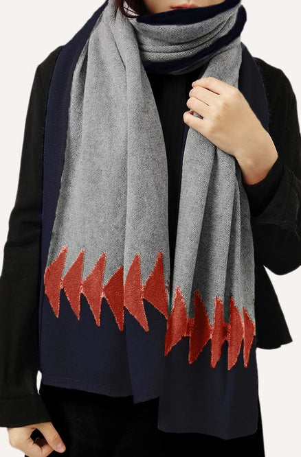 Cashmere Wrap - Grey, Burnt Orange & Navy