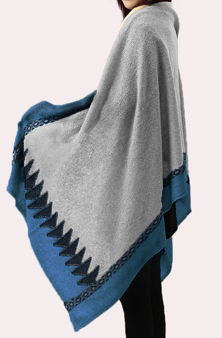 Cashmere Wrap - Navy, Sky Blue & Grey
