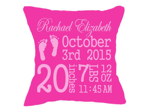 Birth Announcement Pillow Hot Pink