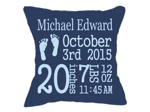 Birth Announcement Pillow Navy Blue