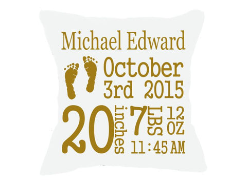 Birth Announcement Pillow White Block Font