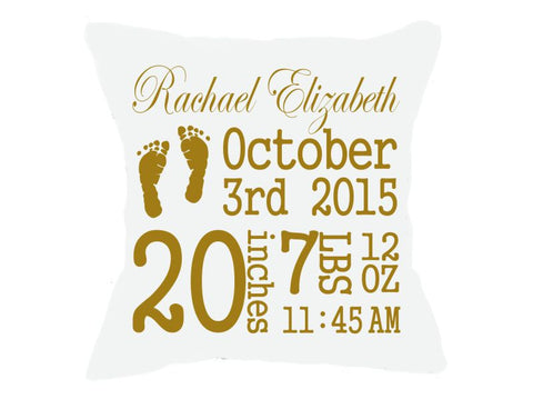 Birth Announcement Pillow White Script Font