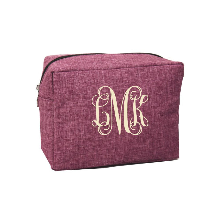 Personalized Cosmetic Bag (Black Cherry Crosshatch)