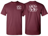 Monogrammed T-Shirt Front and Back (Burgundy)