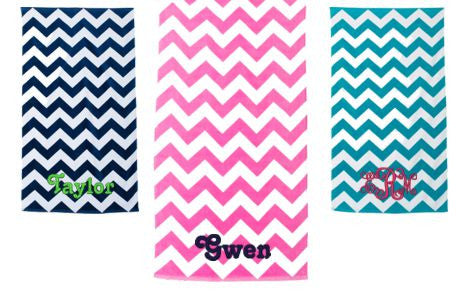 Embroidered Chevron Beach Towels