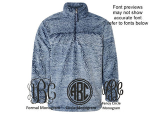 Personalized Sherpa  Quarter-zip Pullover (Frosty Blue)