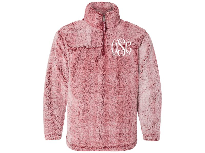 Personalized Sherpa  Quarter-zip Pullover (Frosty Garnet)