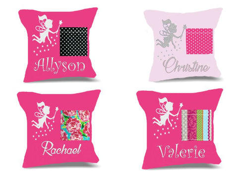 Personalized Tooth Fairy Pillow for Girls with Glitter Fairy