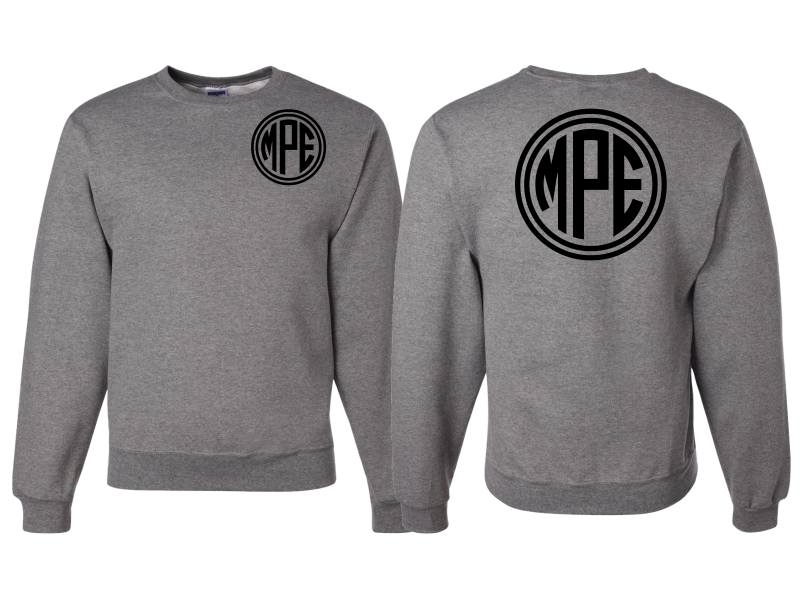 Monogrammed Sweatshirt Front and Back (Gray)