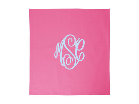 Monogrammed Fleece Stadium Throw Blankets (Hot Pink)