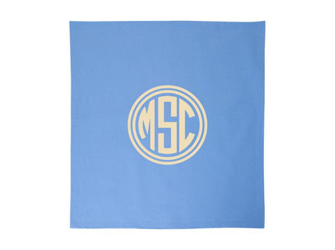 Monogrammed Fleece Stadium Throw Blankets Circle Monogram (Light Blue)