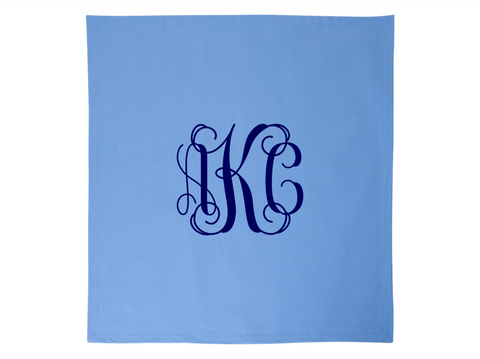 Monogrammed Fleece Stadium Throw Blankets Formal Monogram (Light Blue)
