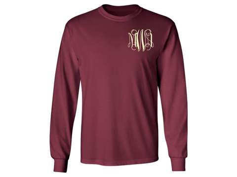 Monogrammed Long Sleeve T-Shirt (Burgundy)