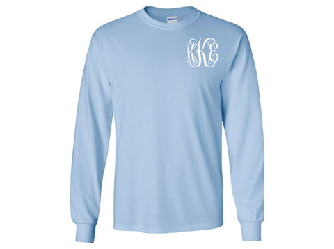 Monogrammed Long Sleeve T-Shirt (Light Blue)