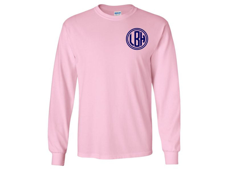 Monogrammed Long Sleeve T-Shirt Front and Back (Light Pink)