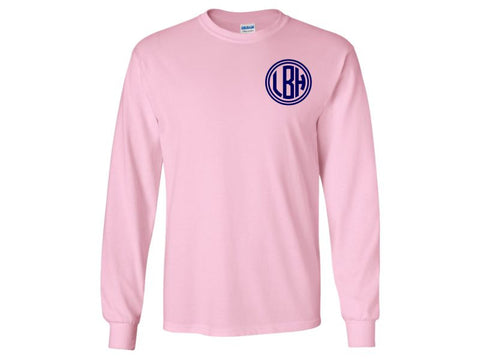 Monogrammed Long Sleeve T-Shirt (Light Pink)