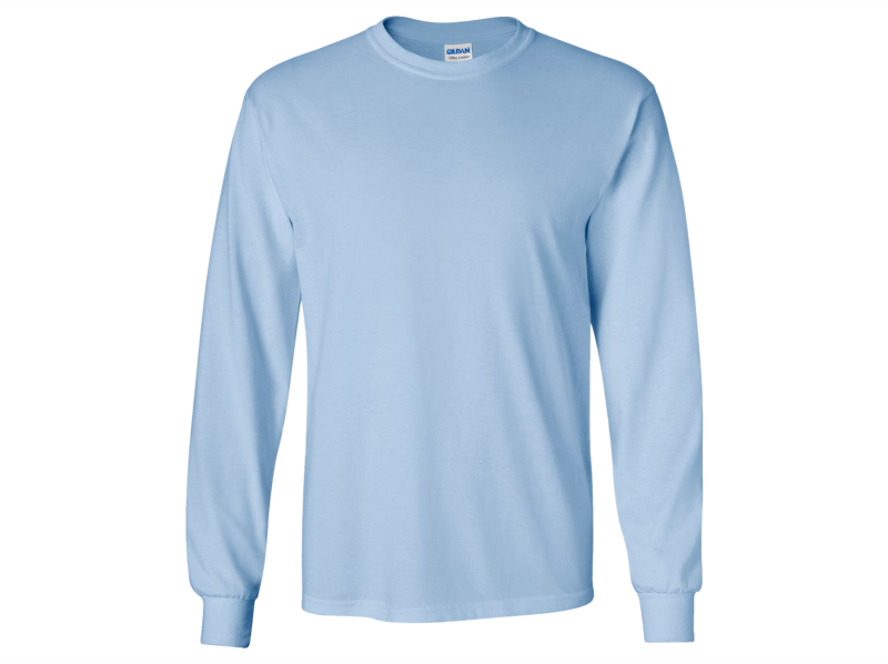 Monogrammed Long Sleeve T-Shirt Light Blue with Applique Monogram
