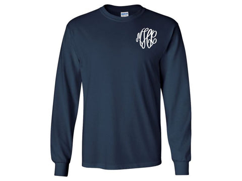 Monogrammed Long Sleeve T-Shirt (Navy Blue)