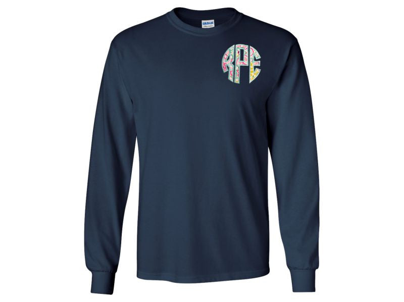 Monogrammed Long Sleeve T-Shirt Navy Blue with Applique Monogram