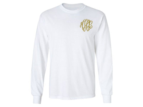 Monogrammed Long Sleeve T-Shirt (White)