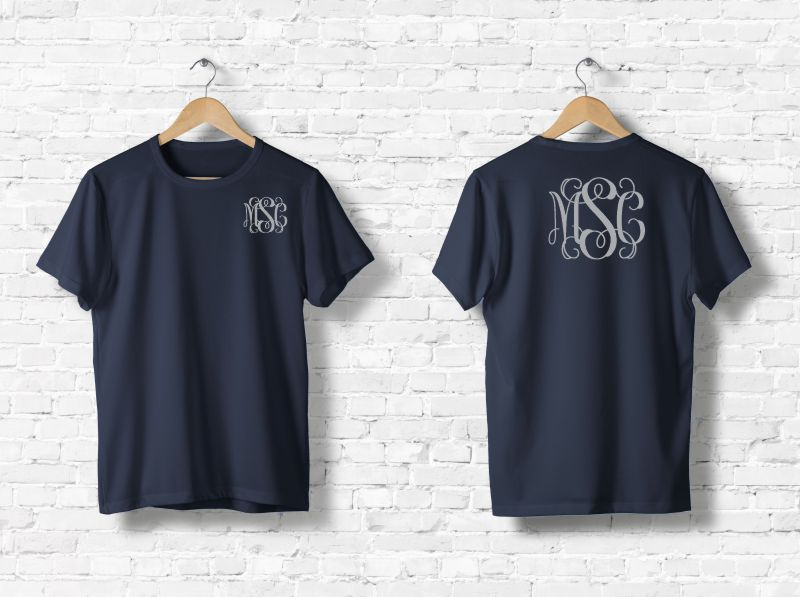 Monogrammed T-Shirt Front and Back (Navy Blue)