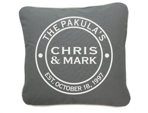 Personalized Couple Throw Pillow 16 X 16 (Gray)