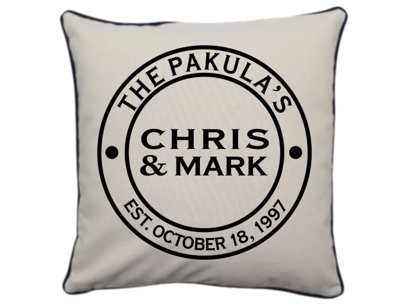 Personalized Couple Throw Pillow 16 X 16 (Natural)