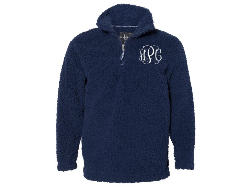 Personalized Sherpa  Quarter-zip Pullover (Navy Blue)