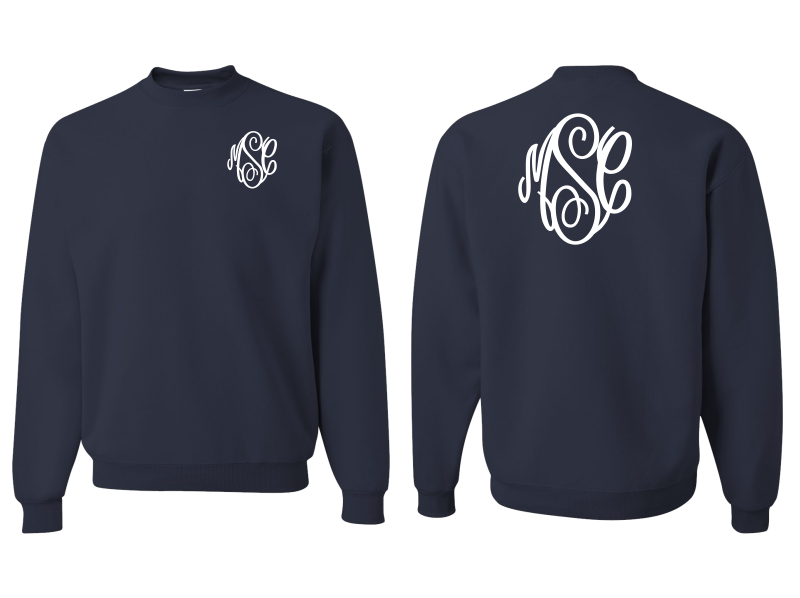 Monogrammed Sweatshirt Front and Back (Navy Blue)