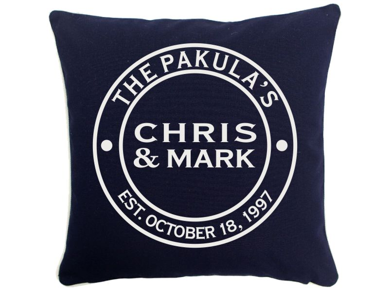 Personalized Couple Throw Pillow 16 X 16 (Navy Blue)