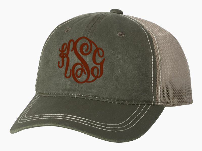 Women's Monogrammed Trucker Baseball Cap Olive and Stone
