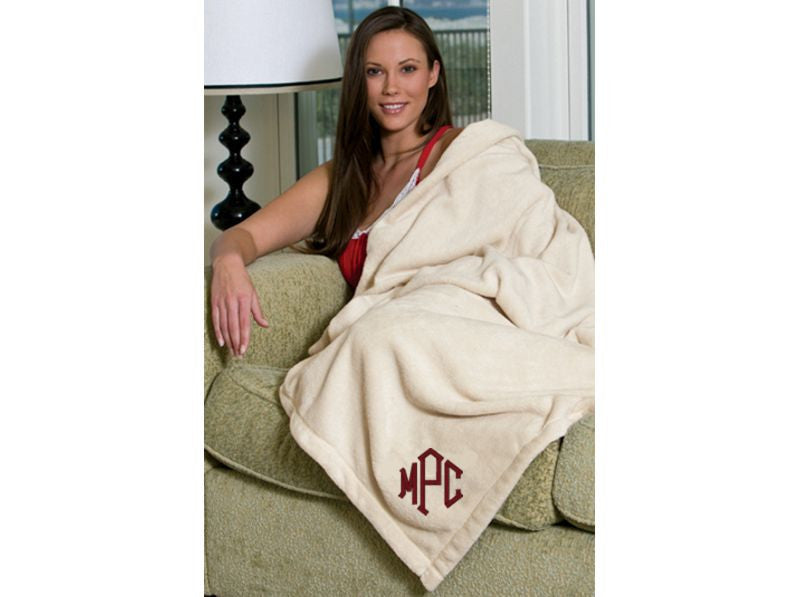 Monogrammed Oversized Tahoe Microfleece Throw Blankets