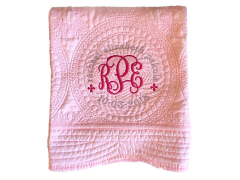 Personalized Baby Quilt (Pink)