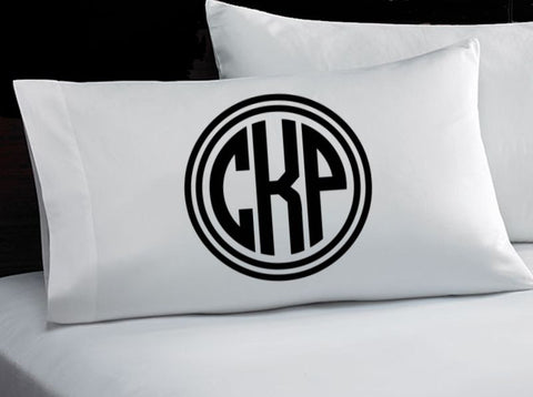 Monogrammed Pillowcase (Circle Monogram)