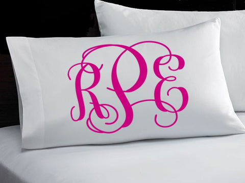 Monogrammed Pillowcase (Formal Monogram)