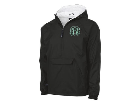 Monogrammed Classic Solid Pullover Rain Jacket (Black)